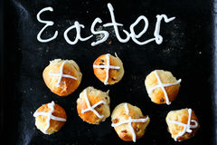 Buns for easter. On black tray Stock Image