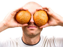 Buns instead of eyes Royalty Free Stock Image