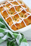 Buns with the glaze in a baking dish Royalty Free Stock Photography