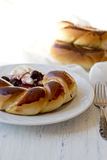 Buns, jam and cream cheese Royalty Free Stock Photography