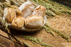 Buns made of whole wheat flour in basket stock photos