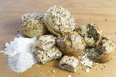 Buns Made of Wholewheat and Buckwheat Flour With Sunflower Seeds, Flax and Sesame Royalty Free Stock Photos