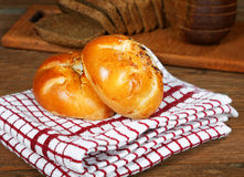 Buns with mushrooms and black bread Stock Images