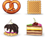 Buns, pastries, and cakes. An isolated view of buns, pastries, and cakes on a white background Stock Images