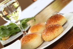 Buns on plates Stock Photo