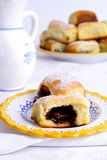 Buns with plum jam,eastern Europe Stock Photo