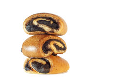 Buns with poppy seed. On white background Stock Photos