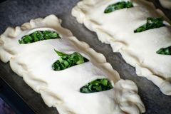 Buns of puff pastry with sorrel close-up. Homemade cakes with greens during cooking. Buns of puff pastry with sorrel close-up. Homemade cakes with greens royalty free stock photography