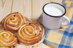 Buns with mug of milk Stock Image