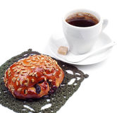 Buns with raisins and sunflower seeds with coffee cup Stock Images