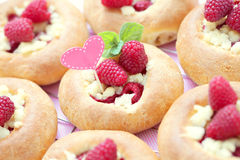 Buns with raspberries Royalty Free Stock Image