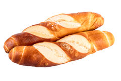 Buns rolls lye rolls typical german bread isolated on white Royalty Free Stock Photos
