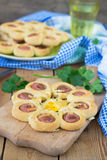 Buns with sausage, cheese and eggs Stock Photography