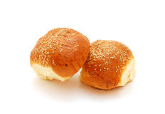 Buns with sesame. Two buns with sesame isolated on white Stock Photo