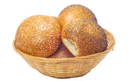 Buns with sesame and poppy seeds Royalty Free Stock Photos