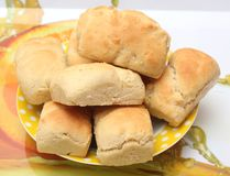Buns. Some homemade buns in a bowl royalty free stock images