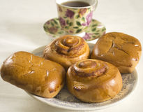 Buns and tea Stock Photo