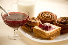 Buns, toast with strawberry jam Royalty Free Stock Photo