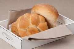 Buns On Tray With Napkin On Natural Linen Stock Photography
