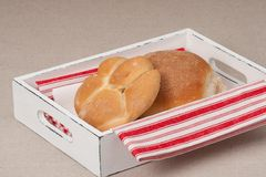 Buns On Tray With Napkin On Natural Linen Royalty Free Stock Photo