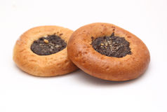 Buns. Two buns with poppy seeds Stock Photos