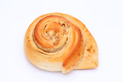 Buns with walnut. On a white background Royalty Free Stock Photos