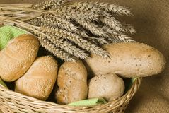 Buns and wheat. In the breadbasket Royalty Free Stock Image