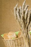 Buns and wheat. In the breadbasket Royalty Free Stock Photos