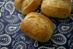 Buns of wheat flour. Some homemade buns of wheat flour and onions stock photography
