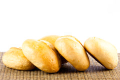 Buns  on white background  bread food bakery Stock Photos