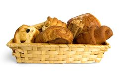 Buns in a wicker basket Stock Image