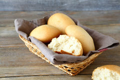 Buns in a wicker basket on the boards Stock Photo