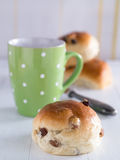 Buns on a wooden tray Stock Images