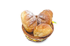 Buns in a woven basket + clipping path Stock Image