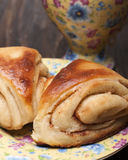 Buns from yeast dough with cinnamon Royalty Free Stock Image