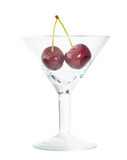 Bunsh of sweet cherry in wineglass Stock Image