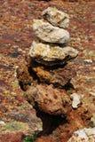 Bunt av allsidiga Lava Rock On kusten av Aruba Royaltyfria Bilder