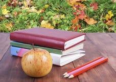 bunt av böcker, blyertspennor och det gula äpplet Serie tillbaka till skolan Royaltyfri Bild