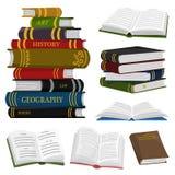 Bunt av böcker för vän av litteratur ?ppna encyklopedier f?r att l?sa Inverterade sidor Objekt i modern stil royaltyfri illustrationer