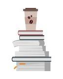 Bunt av böcker med koppen kaffe vektor illustrationer