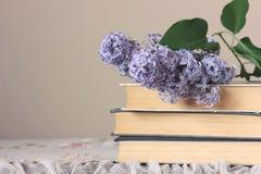 Bunt av böcker och en filial av den blommande lilan på tabellen fotografering för bildbyråer