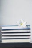 Bunt av böcker och frangipaniblomman Royaltyfria Bilder