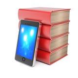 Bunt av böcker och smartphonen Arkivfoto