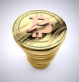 Bunt av bitcoin Arkivfoton