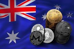Bunt av Bitcoin mynt på australisk flagga Läge av Bitcoin och andra cryptocurrencies i Australien Royaltyfria Bilder