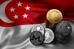 Bunt av Bitcoin mynt på singaporiansk flagga Läge av Bitcoin och andra cryptocurrencies Royaltyfri Fotografi