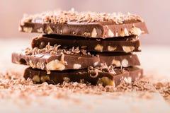 Bunt av choklad med muttrar på ljust bräde royaltyfria bilder