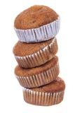 Bunt av den isolerade muffin för kaka för brun kopp för banan Fotografering för Bildbyråer