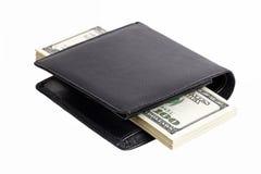 Bunt av dollar i en plånbok Arkivfoto