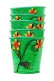 Bunt av färgrika blommakrukar Royaltyfria Bilder